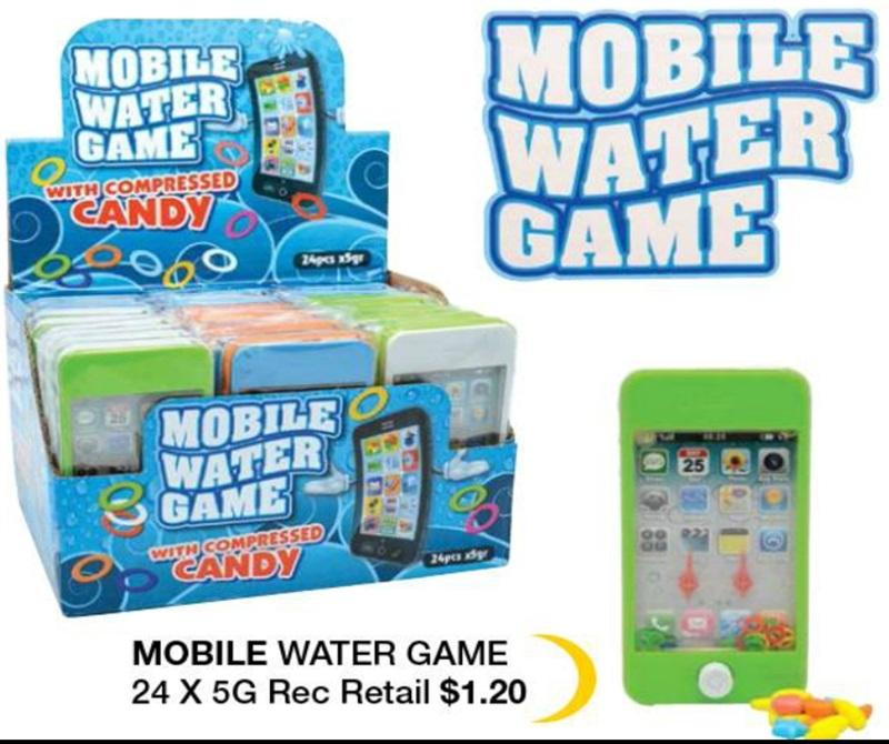 Novelty MOBILE WATER GAME CANDY 5Gx24 - nutsandsweets.com.au