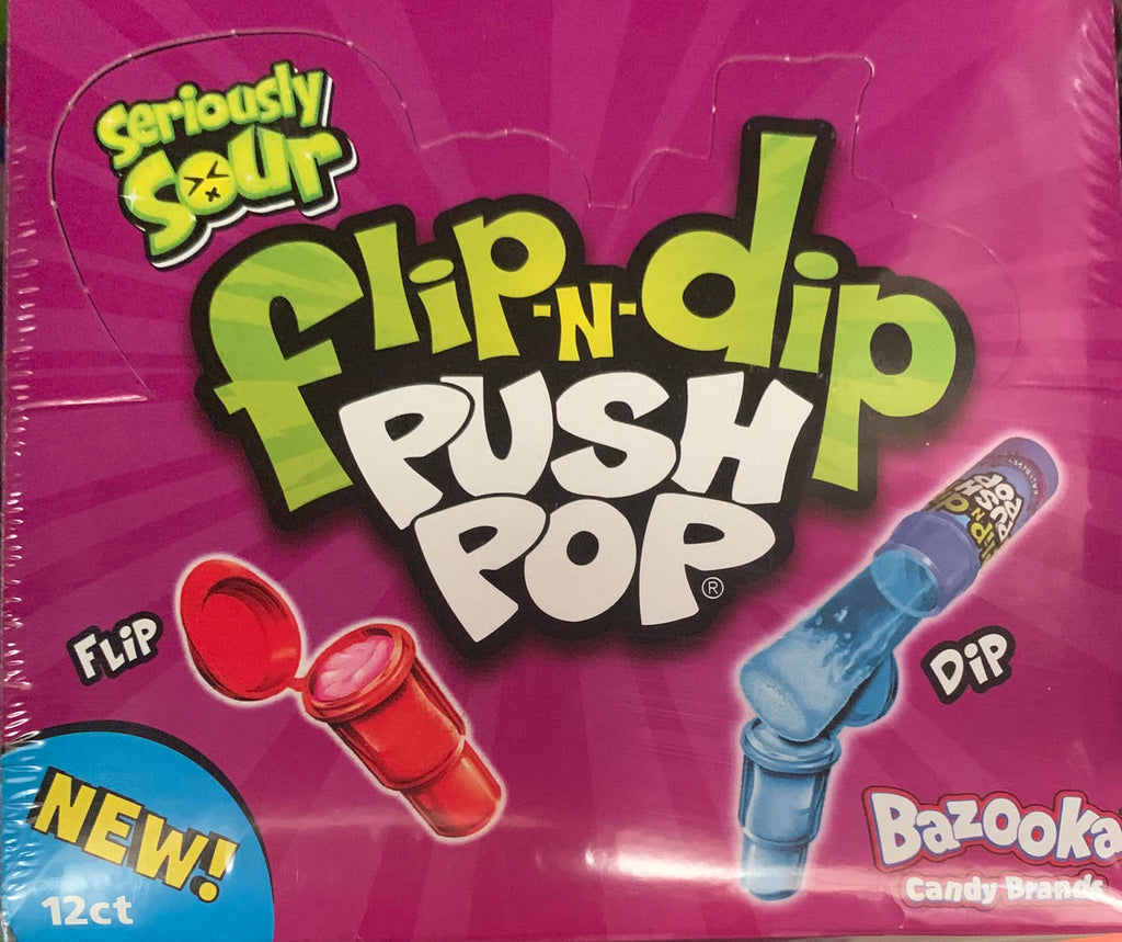 CONFECTIONERY FLIP N DIP PUSH POP Seriously Sour 20G X 12 - nutsandsweets.com.au
