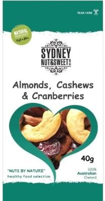 Sydney Nut and Sweet SnackPack 40g x24-Almonds, Cashews and Cranberries - nutsandsweets.com.au