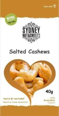 Sydney Nut and Sweet SnackPack 40g x24-Salted Cashews