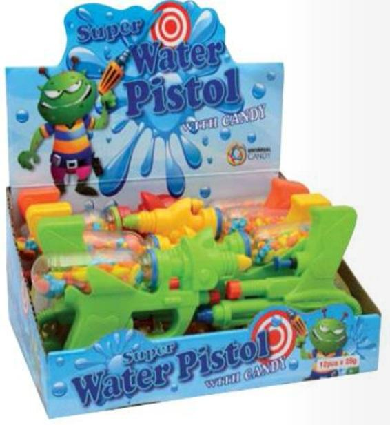 Novelty SUPER WATER PISTOL CANDY 25GX12 - nutsandsweets.com.au