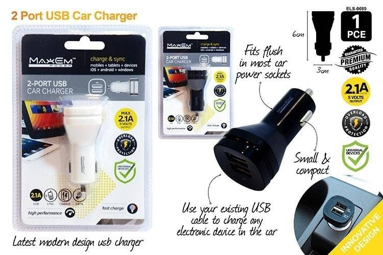 Twin 2-Port USB Car Charger