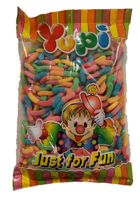 Confectionery - Yupi Sour Worms 2kg - nutsandsweets.com.au