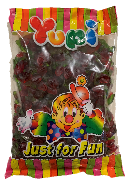 Confectionery - Yupi Gummy Strawberry Leaf - nutsandsweets.com.au