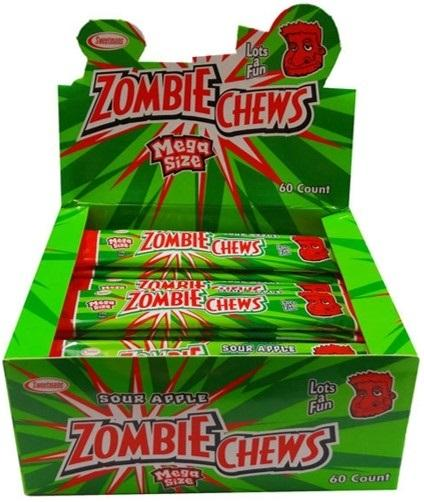 Confectionery - ZOMBIE SOUR APPLE 28G X 60 - nutsandsweets.com.au