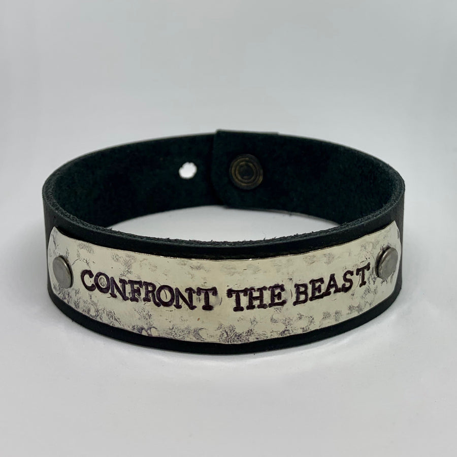 Confront the Beast Men's Black/Silver Bracelet