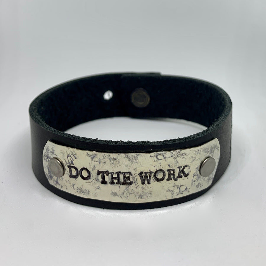 Do the Work Men's Black/Silver Bracelet