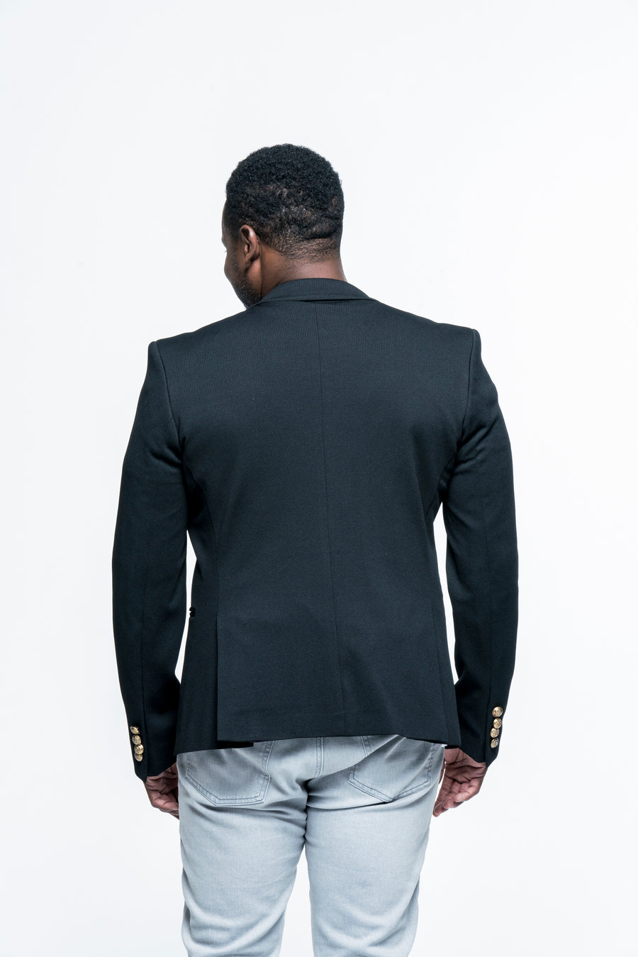Gold-Button Fitted Notch Black Blazer