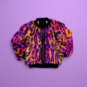 Ready to ship - Neon Leopard Bomber Jacket