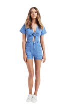 Load image into Gallery viewer, Seed Heritage Bow Denim Romper