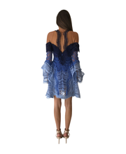 Load image into Gallery viewer, Thurley Waterfall Mini Dress in Blue Multi