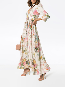 Zimmermann Heathers Floral Print Linen Maxi Dress