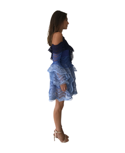 Thurley Waterfall Mini Dress in Blue Multi