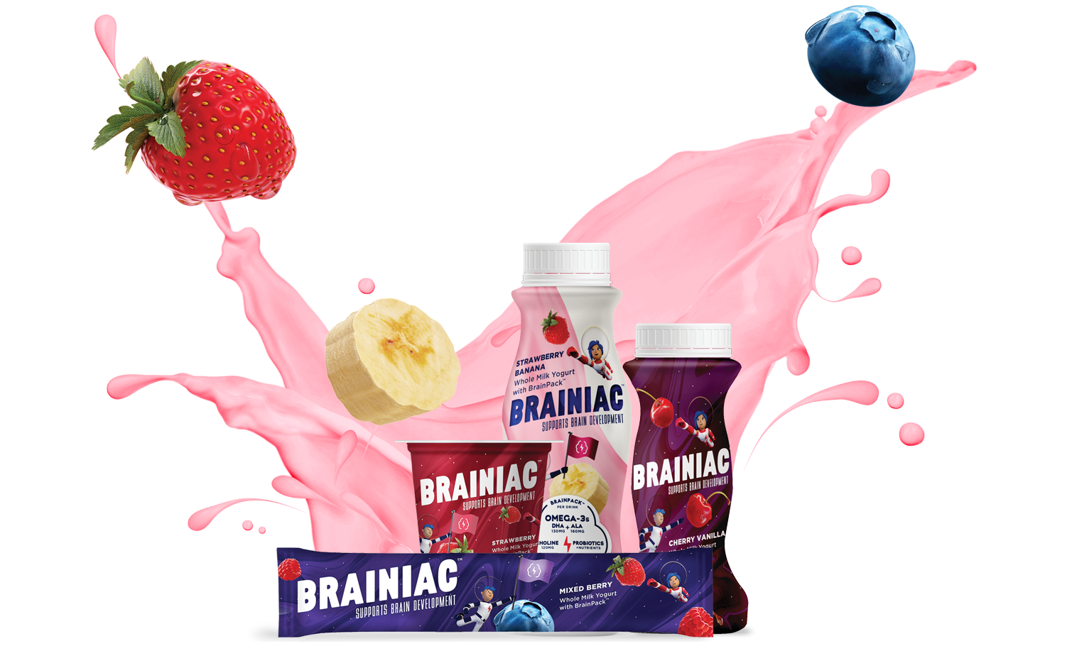 Brainiac yogurt packaging in front of pink yogurt splash with a strawberry, blueberry, and banana