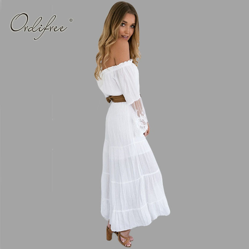 524ea3200c4 Sundress Beach Strapless Long Sleeve Loose Sexy Off Shoulder Lace Boho  Cotton Maxi Dress