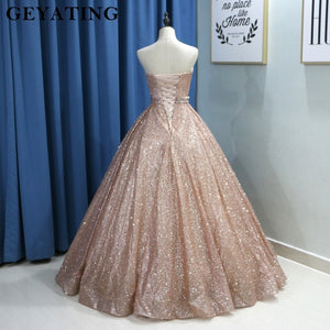 456caf3aab343 Champagne Glitter Ball Gown Prom Dress Luxury 2019 Sweetheart Corset Floor  Length Gown
