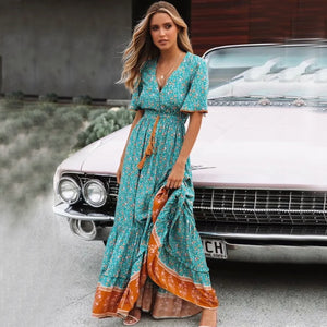 96ff1e28f1 Vintage Green Floral Print Women Maxi V Neck Tassel Ruffle Tie Lace Up Long  Boho Dress