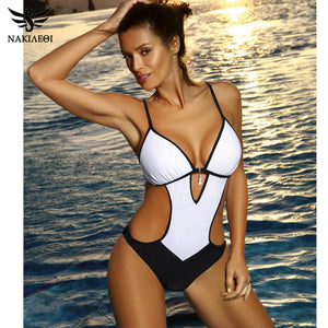54994ad5d NAKIAEOI Sexy Thong One Piece Swimsuit 2019 Plus Size Swimwear XXL
