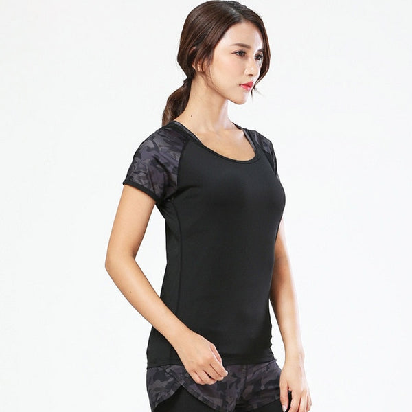BINAND Women's Quick Drying Camo Yoga T-shirt Polyester Round Neck Sweat-wicking Fitness Running Fitness Slim Fit Workout Tops