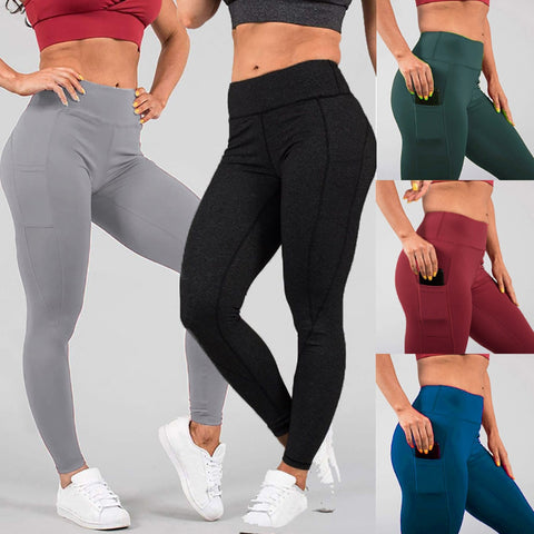 Women's Fashion Solid Pockets Workout Leggings Fitness Sports Gym Running Sport Athletic Pants #25