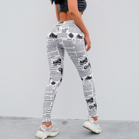 feitong 2019 Women's Fashion Workout Newspaper Print Sports Gym Running Female Athletic Pants  pantalon femme #251