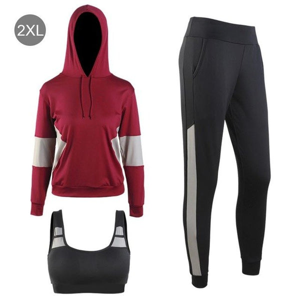 Fitness Women's Yoga Set Suit Outdoor Sports Fitness Workout Sports Bras Pants Tops 3PCS Set Pullover Hooded Loose  Sports Wear