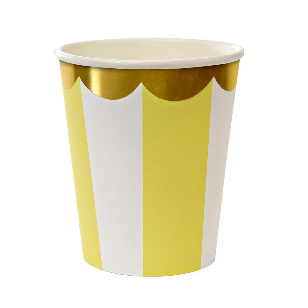 Yellow Fan Stripe Cups
