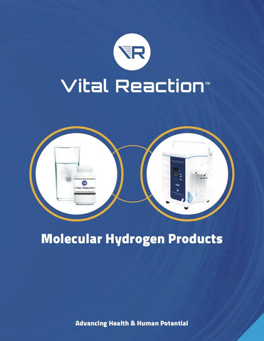 Vital Reaction's molecular hydrogen brochure for clinics and parties interested in the benefits of molecular hydrogen treatment.