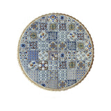 Circular Hidraulico Blue Mosaic Table Set with 3 benches