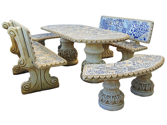 Comedor Hidraulico Blue Mosaic Table Set with Backrest