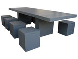 Large Contemporary Grey Fibercement Table Set with 8 stools GA70-2189