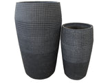 Tall Grid Design Round Fibercement Pot GA30-2526