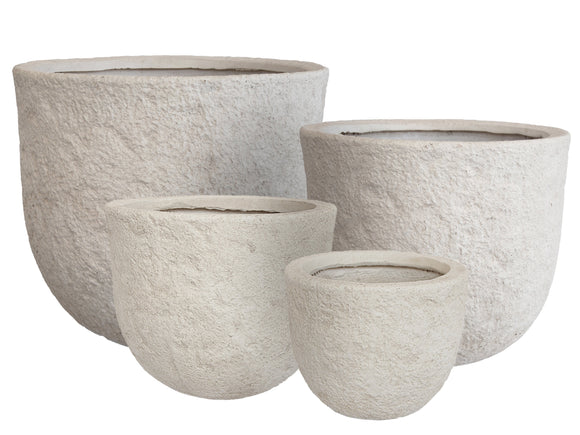 Textured White Fibercement Bowl GA30-977