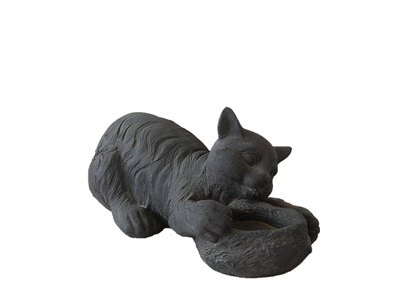 Cat with Bowl Fibercement Statue GA40-871
