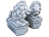Grand Sitting Lion Pair with Pedestal