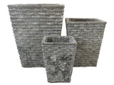 Square Striped Ancient Ceramic Pot LT003-2348