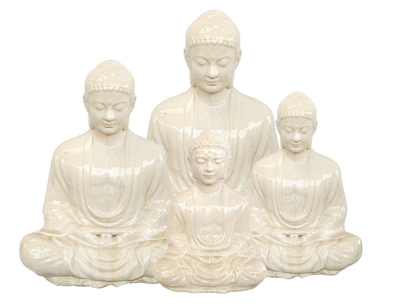 Ceramic White Seated Buddha Statue