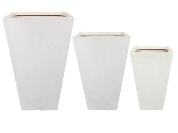 Poly Short Square White Pot