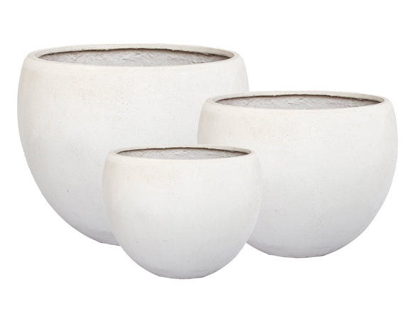 Poly Wide Round White Pot
