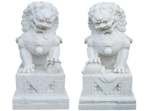 Marble Chinese Lion Pair 1.8m