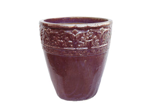 Glazed Patterened Purple Round Pot