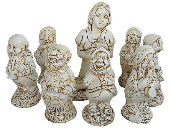 Snow White and Seven Dwarves Concrete Statue Set