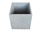 Striped Cube Grey Fibercement Planter GA30-1568