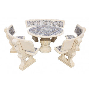 Castano Snow Circular Furniture Set with Back Rest