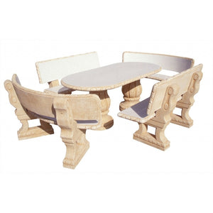 Ciruelo Pulido Oval Furniture Set with 4 Backrest Benches