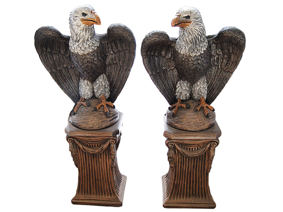 Bald Eagle Pair with Fluted Pedestal
