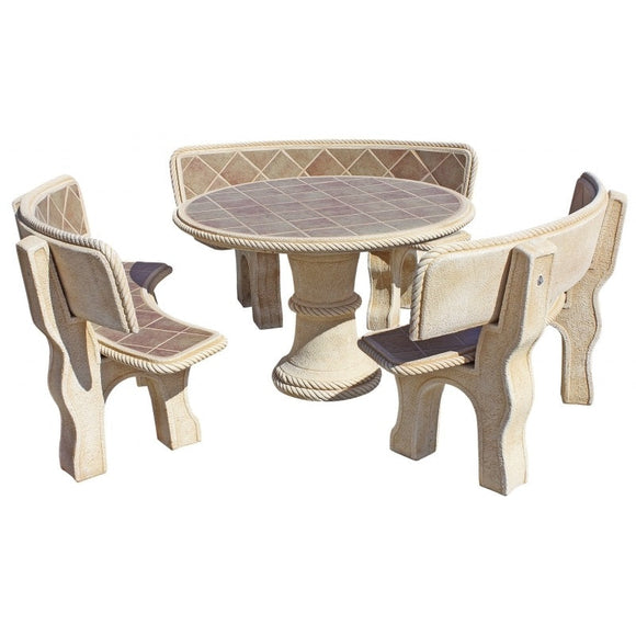 Pino Tostado Circular Furniture Set with Back Rest