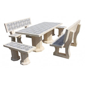 Ragazzo Snow Arena Rectangular Table Set with 2 Backrest Benches