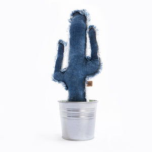 cactus denim desgastado decorativo con maceta