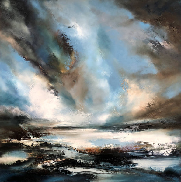Helen Langfield, Windstorm, Oil Painting, Original Artwork, Seascape Painting, Sky, Landscape, Expressive Art, Blue, Grey
